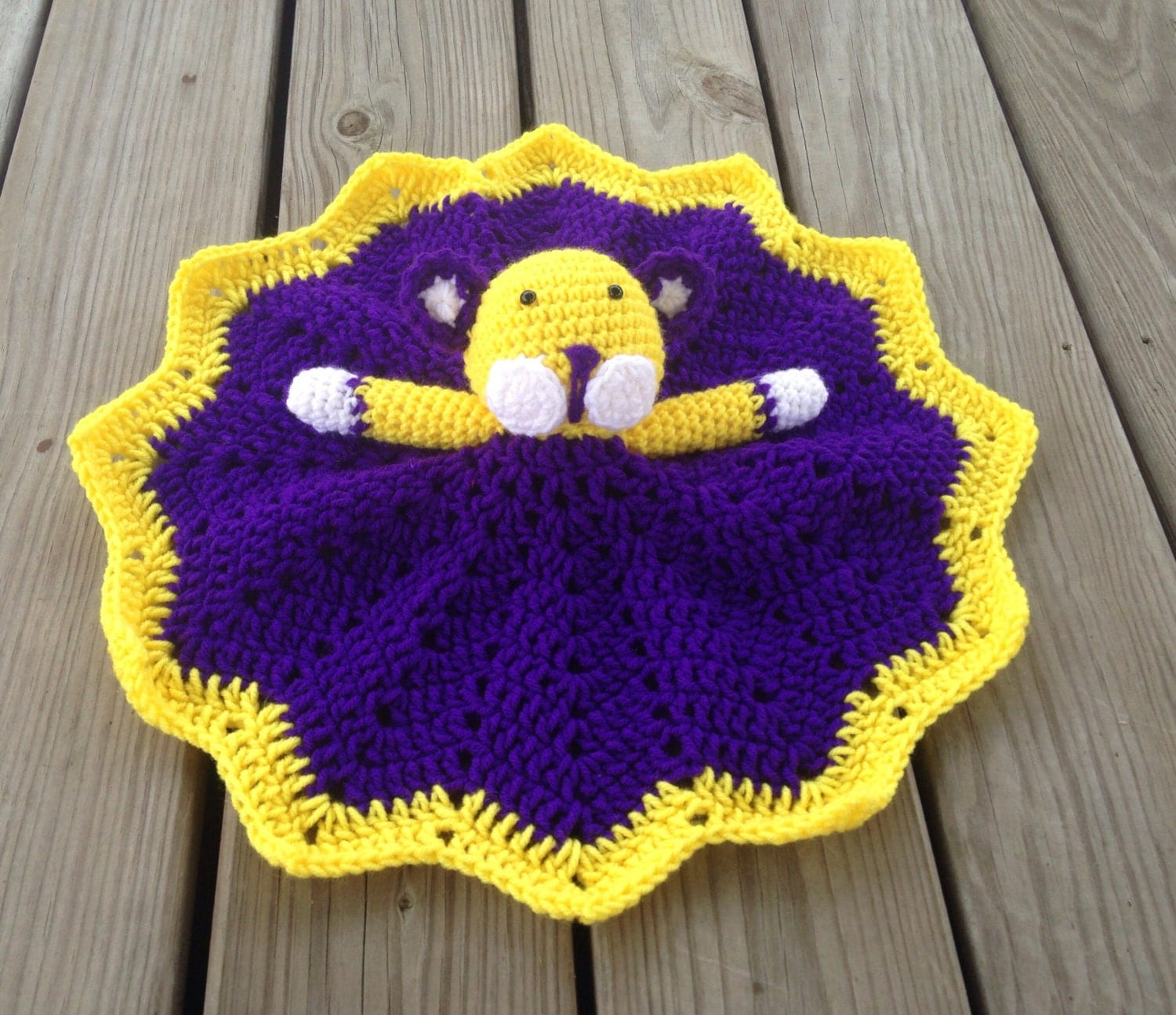 Crochet purple and gold LSU tiger lovey security blanket