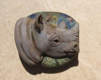 LG. Black Rhino - Glass Lampwork Sculpture Bead - SRA