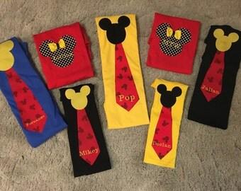 Best Price and Quality! Ships Fast! Family Disney Shirt Mom Dad Mickey Tie Shirt Disney World Disneyland Cruise Wonder Magic Fantasy Sewn