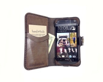 HTC One M7 (original) Leather Wallet Case - No Plastic - Clearance Sale / Scratch and Dent