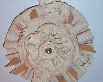 Fabric Flower, Drop Cloth Flower, Wall Hanging, Wall Art, Handmade Fabric Flower, Rustic, Farmhouse, Handmade Fabric Flower