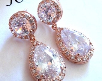 Wedding Bridal Earrings Kim Kardashian Inspired Halo White Clear Pear Shaped Cubic Zirconia Round ROSE Gold Plated CZ Post Earrings