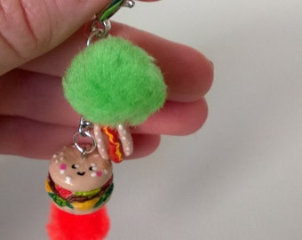 Kawaii Cheeseburger and Hot Dog with Pom Pom Polymer Clay Dinner Hamburger Food Bag Charm Keychain Gift Minature Ooak Fast Food