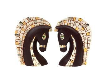 Mid-century Relco Horse Head Planters // Pair Vintage Trojan Horse Head Vases Brown, Silver Gold Mosaic, Green Rhinestone Eyes Made in Japan