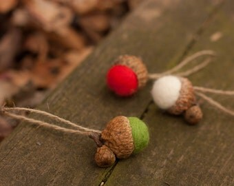 Holiday Colors Felted Acorn Ornaments