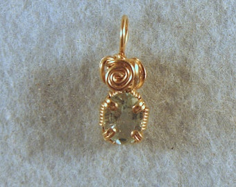 Aquamarine Wire Wrapped Pendant in Gold Filled Wire Number 2 of 500