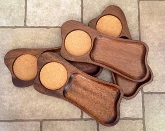 Vintage Kala-Wood Four Piece Snack Set