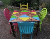 Special listing for Carley colorful painted dining table with 4 chairs SOLD similar set available custom request yours today