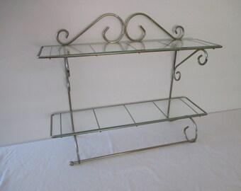 Vintage Metal Wall Shelf with Towel Bar - Metal Vanity Shelf
