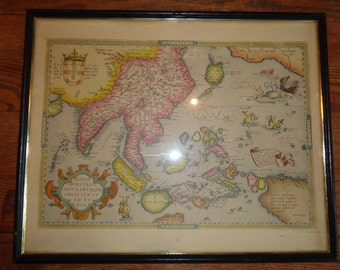 Vintage Antique Map Print  of  South-East Asia by the Cartographer Abraham Ortelius, 1570,  Copyright D.A.C., Inc., N.Y., Made in USA