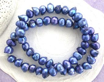 Sale, Closeout, Destash Beads, 10 to 11mm Periwinkle Blue Baroque Button Fresh Water Pearls, Destash Pearls, Destash Supplies DS-652