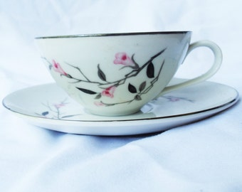 Vintage Cherry Blossom Fine China Tea Cup and Saucer 1067 JAPAN