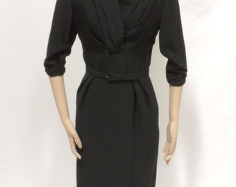 Vintage Dress Reich Original LBD Fitted Wiggle Frock Black Rayon Size 10 Vintage 1940s