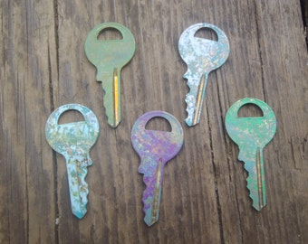 Quenched Patina Keys, jewelry supply, charms, Brass keys patina , key lot, key set