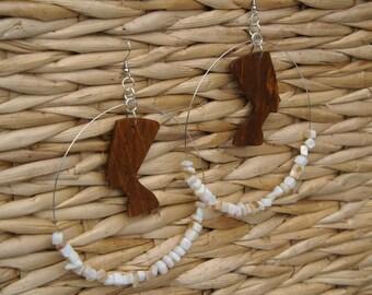 Nefertiti Earrings Large Beaded Hoop Earrings Afrocentric Jewelry