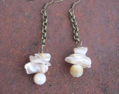 Mother of Pearl and Brass Chain Rustic Boho Earrings