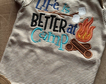 Life is better at camp machine appliqued bodysuit