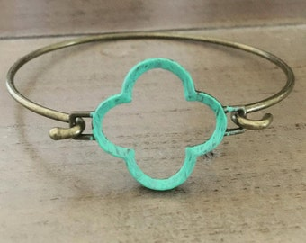 Quatrefoil Bangle Bracelet Patina Verdigris