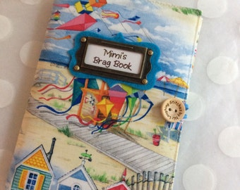 Photo Album Personalized Brag Book holds 48 Pictures - Beach Fabric