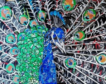 Beautiful Peacock Mosaic Created from Recycled Soda Cans