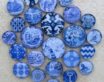 Blue Transferware China Vintage Antique Blue Willow Delft Blue White Home Decor Blue and White Large Glass Magnet Set Office Organization