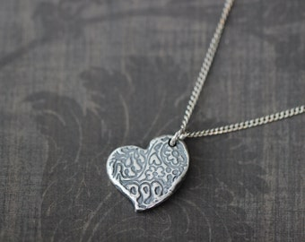 FLASH SALE Paisley Heart Necklace, Paisley, Heart Charm, Sterling Silver, Pendant, Charm Necklace, 17 Inch, Silver Chain, Boho, Gift Ideas,