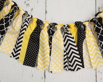 Streamer Banner - Rag Tie Banner - Photography Prop - Room Decor - Yellow and Black Banner