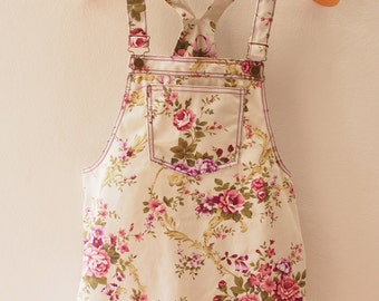 Skirtall, Floral Skirtall, White with Purple Rose Overall, Apron Overall skirtall, Vintage Inspired, XS-XL
