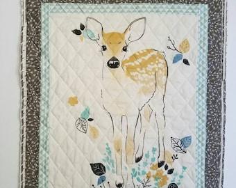 MINI Blue Fawn Quilt; wall hanging; micro quilt; nursery decor; newborn blanket