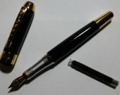 Fountain Pen, Free Black Ink Cartridge, Glossy Black with Gold Trim and Black Jewel on Top, Desk Accessories, Drawing Supplies, Art Supplies