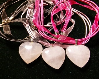 Rose Quartz Heart Shaped Pendant Necklaces,Suspended on a 18 inch Shimmery Organza Ribbon Cord, Heart is 24mm, 7mm thick,Valentines Day