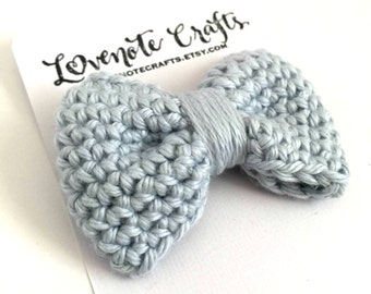 Crochet Hair Bow: Pale Denim Blue - Crocheted Hair Clip - Crochet Bowtie - Infant Hair Clip - Crocheted Hair Bow