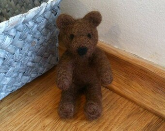 Teddybear needle felted brown miniature handmade home decor gift under 25
