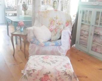 Vintage stool  white legs Vintage barkcloth cover roses  shabby chic prairie cottage stool
