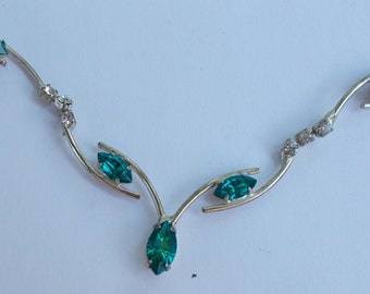 Vintage Choker Necklace  with unknown Green  and Clear Stones  Probably not gems but very nice looking