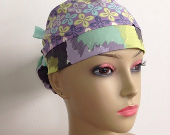 Women's Ponytail Surgical Scrub Cap - Purple and Green