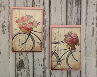 Dollhouse Miniature Shabby Chic Pink Wooden Sign Victorian Bikes and Flowers Wall Art - Set of 2