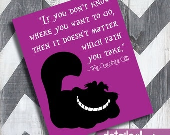 CHESHIRE CAT DISNEY Sign, Alice in Wonderland, Kid's Decor, Wall Sign, Kid Bedroom - Digital Download