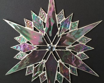 stained glass snowflake suncatcher  (design 35)