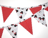 Minnie and Red Dots Fabric Bunting, Banner, made from Minnie Mouse fabric, garland pennant flags, Minnie party bunting Minnie party decor