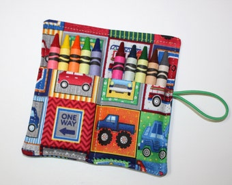 Crayon Rolls Party Favors, Trucks Cars & StreetSigns, holds 10 crayons, Birthday Party Favors