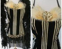 Vintage '50s Burlesque Costume Vaudeville Sequin Feather Black Fringe Striped Velveteen Leotard Matching Gloves Sz Small / Medium 4 5 6 7 8