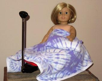 "Handmade Doll Blanket & Pillow Set ~ For American Girl Dolls, 16""-18"" and 20""-22"" Baby Dolls ~ Purple and White Tye Dye Print"