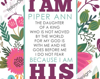 I AM HIS (Floral) Personalized Print (PDF)