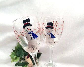 Snowman hand painted pair offwine glasses
