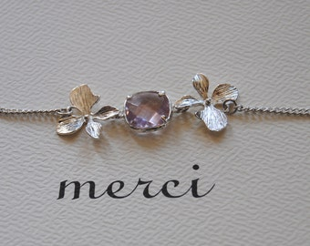 Silver plated bracelet with orchids and light purple stone.Gift for her .