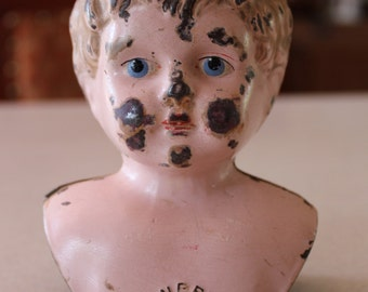 Antique German Minerva Tin Metal Doll Bust