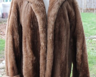 Beautiful Vintage Brown Dyed Sheared Mouton Lamb Coat Swing Style Large