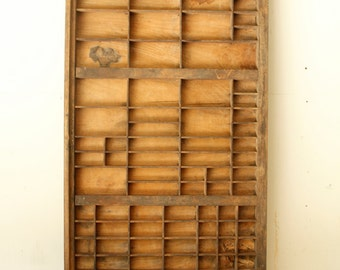 Antique Vintage Type Tray Letterpress Drawer Wall Hanging Rustic Industrial Decor