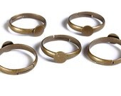 6mm antique brass pad ring blank adjustable - Blank ring cabochon base - nickel free cadmium free - 5 pieces (1561) - Flat rate shipping